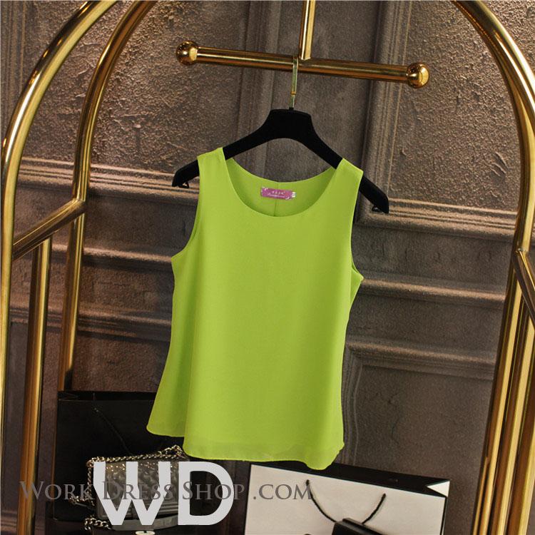 Pre-order เสื้อทำงาน สีเขียวอ่อน เสื้อคอกลมแขนกุด เนื้อผ้าซีฟองอย่างดีพร้อมซับใน ใส่ด้านในสูทก็สวยเก๋