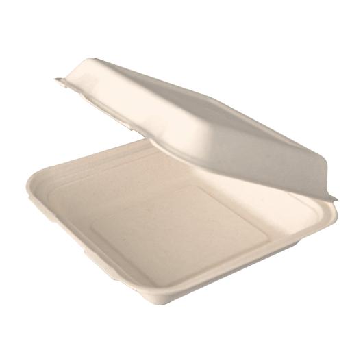 Gracz เกรซ - กล่องอาหารชานอ้อย ไม่กั้นช่อง - B024 - ขนาด 8 นิ้ว / 1000 มล. แพ็ค 50 ใบ