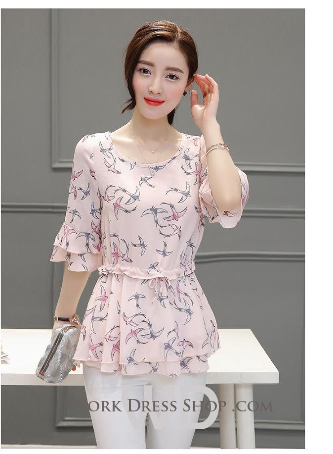 Preorder เสื้อทำงาน สีชมพู ผูกเอว ผ้าพิมพ์ลายนก แขนแต่งระบายสวย