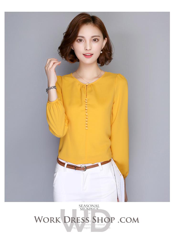 Preorder เสื้อทำงาน สีเหลืองขมิ้น คอกลม แขนยาว แต่งกระดุมเรียงสวย เนื้อผ้าระบายอากาศได้ดี