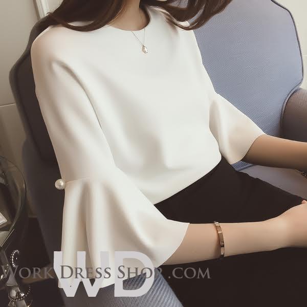 Preorder เสื้อทำงาน ระบายช่วงแขน เนื้อผ้าไม่หนา ระบายอากาศได้ดี สีขาว