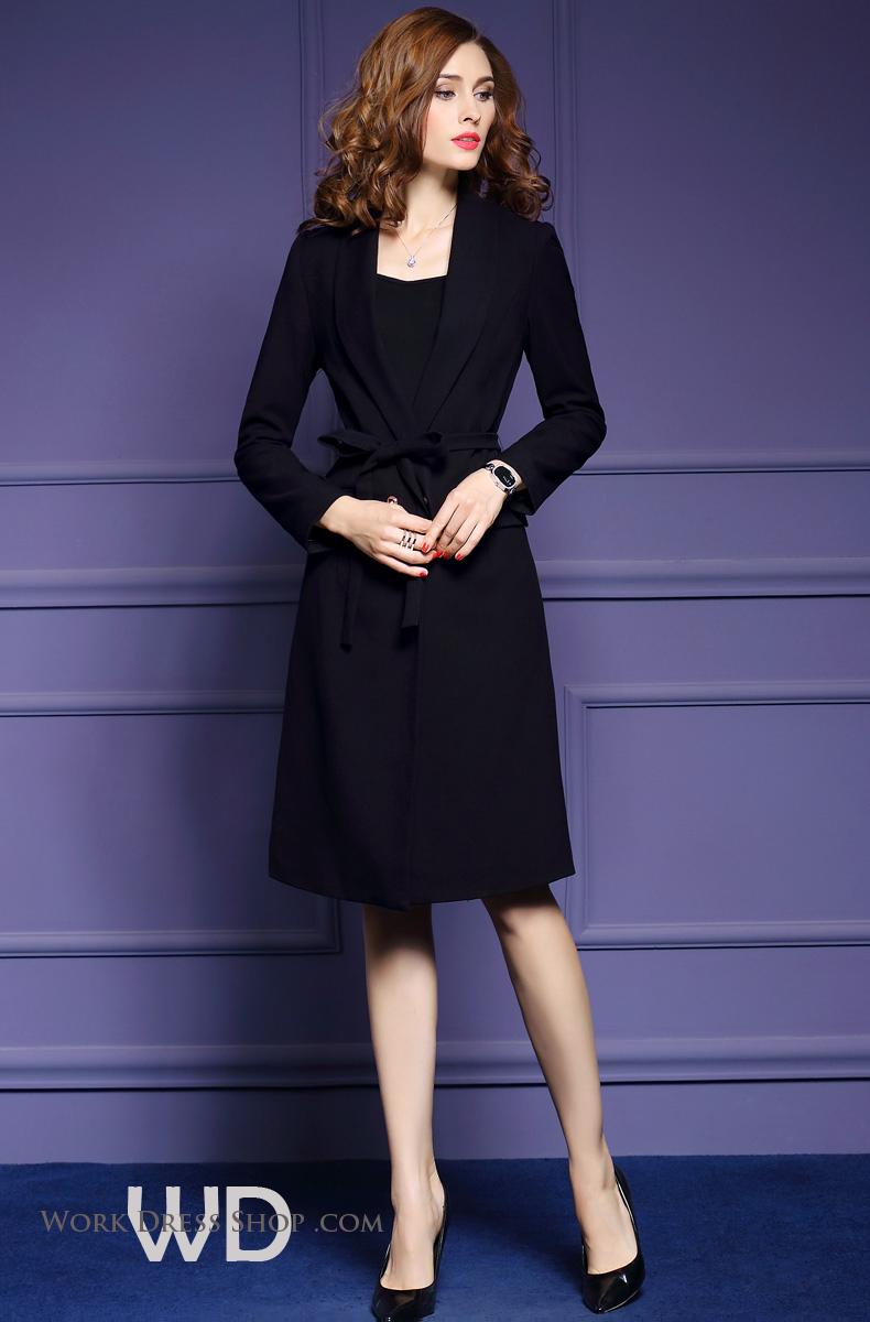 พร้อมส่ง โค้ทผ้าวูล ทรงโอเวอร์โค้ท สีดำ ใส่เป็นเสื้อคลุม ผูกโบว์ช่วงเอวเก๋ๆ**พร้อมส่งไซส์ 3XL , 2XL , XL , M **