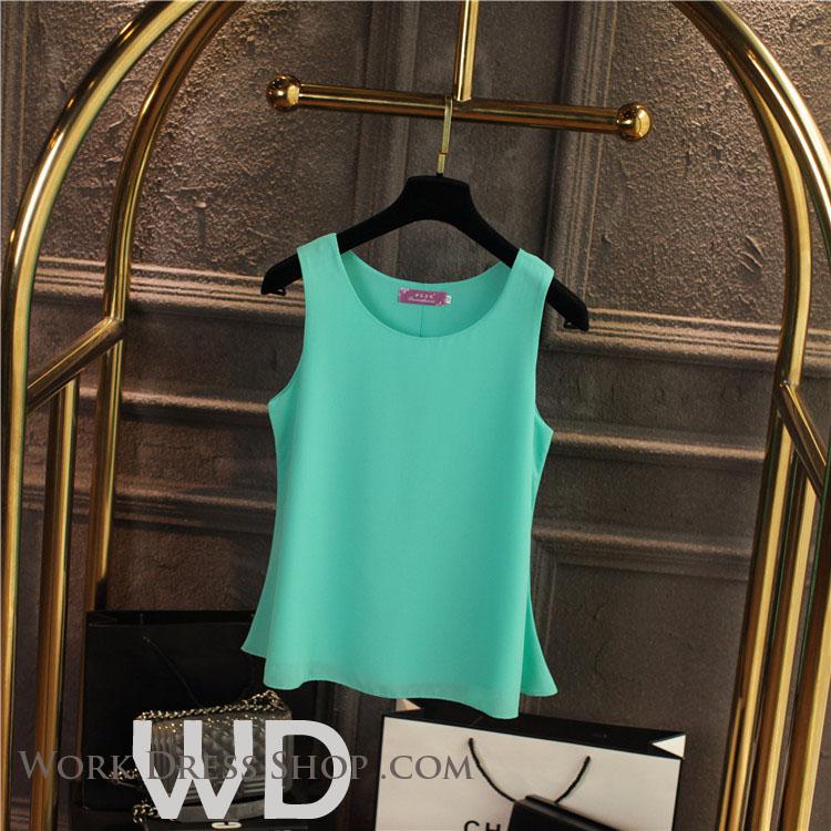Pre-order เสื้อทำงาน สีิเขียวพาสเทล เสื้อคอกลมแขนกุด เนื้อผ้าซีฟองอย่างดีพร้อมซับใน ใส่ด้านในสูทก็สวยเก๋
