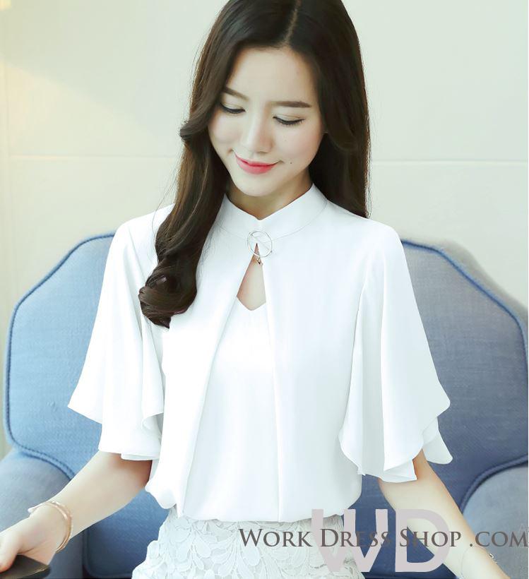 Preorder เสื้อทำงาน สีขาว แต่งทรงเสื้อคลุมสวยเก๋ไม่ซ้ำใคร แขนปล่อย