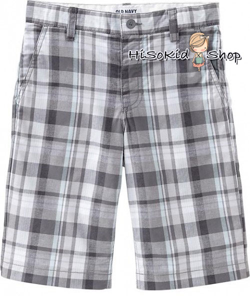 1188 Old navy plaid flat front short - Grey ขนาด 14 ปี