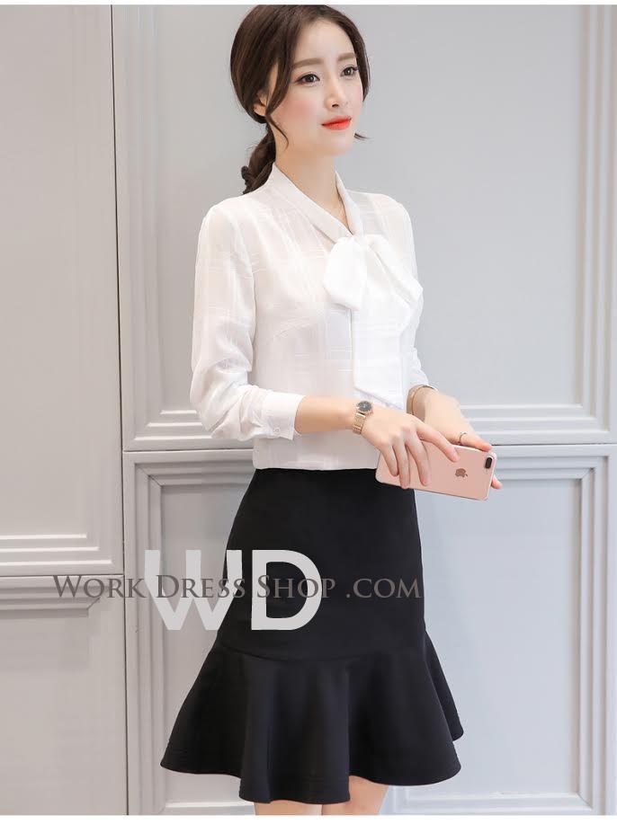 Pre-order เสื้อทำงาน สีขาว แขนยาว ลายตาราง พร้อมแต่งโบว์สวย