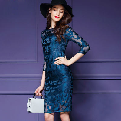 Preorder ชุดเดรส/ชุดออกงาน ผ้าเกาหลี ผ้าโปร่งปักแขนยาวลายดอกไม้ สีนำเงิน (ซิปหลัง)