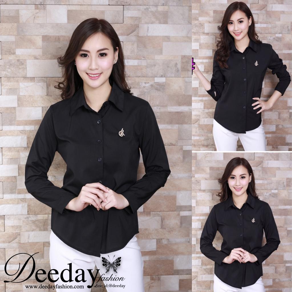 เสื้อเชิ้ตสีดำ เสื้อเชิ้ตแฟชั่น ขายส่งราคาถูก สั่งซื้อ Line id:@deeday