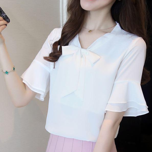 Preorder เสื้อทำงาน สีขาว คอผูกโบว์ แขนแต่งระบายสองชั้นสวยหรู