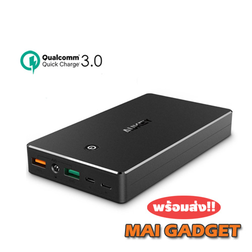 Aukey 20,000 mAh Quick Charge 3.0 Slim Powerbank แถมถุงผ้าฟรี