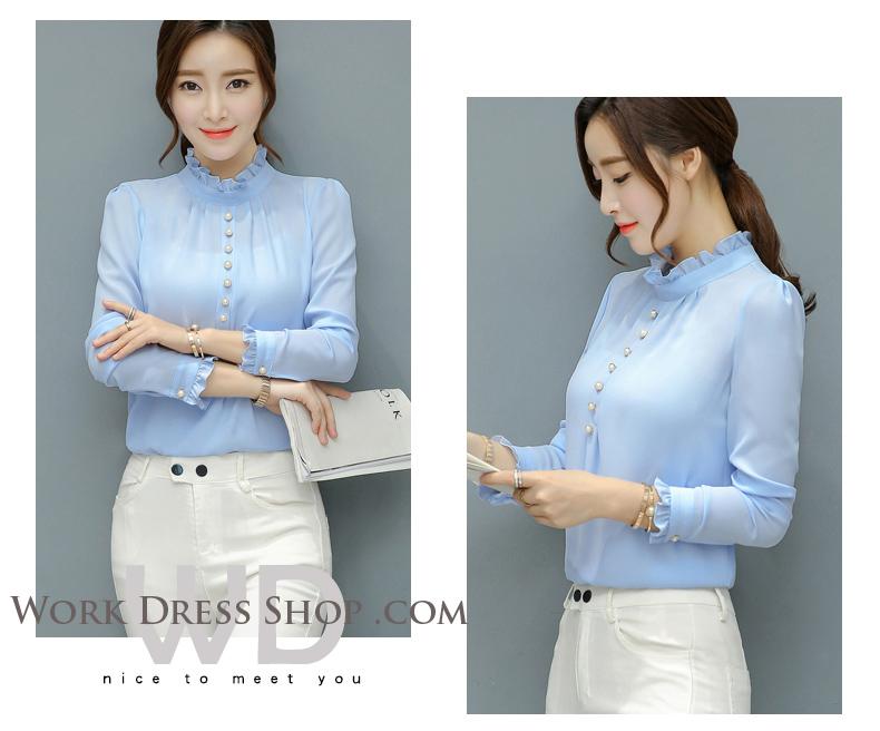 Preorder เสื้อทำงาน สีฟ้า คอตั้ง แต่งระบายช่วงคอและแขนสวยงาม เนื้อผ้าระบายอากาศได้ดี