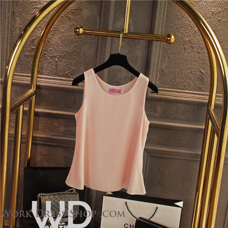 Pre-order เสื้อทำงาน สีโอรส เสื้อคอกลมแขนกุด เนื้อผ้าซีฟองอย่างดีพร้อมซับใน ใส่ด้านในสูทก็สวยเก๋