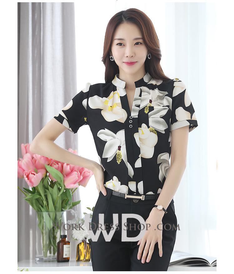 Preorder เสื้อทำงาน คอจีน สีดำ ผ้าพิมพ์ลายดอก เนื้อผ้าระบายอากาศได้ดี แขนสั้น