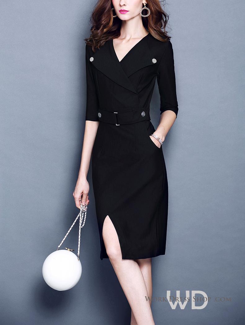 Preorder ชุดทำงาน สีดำ ทรง Over coat ปกสูท แต่งหมุด