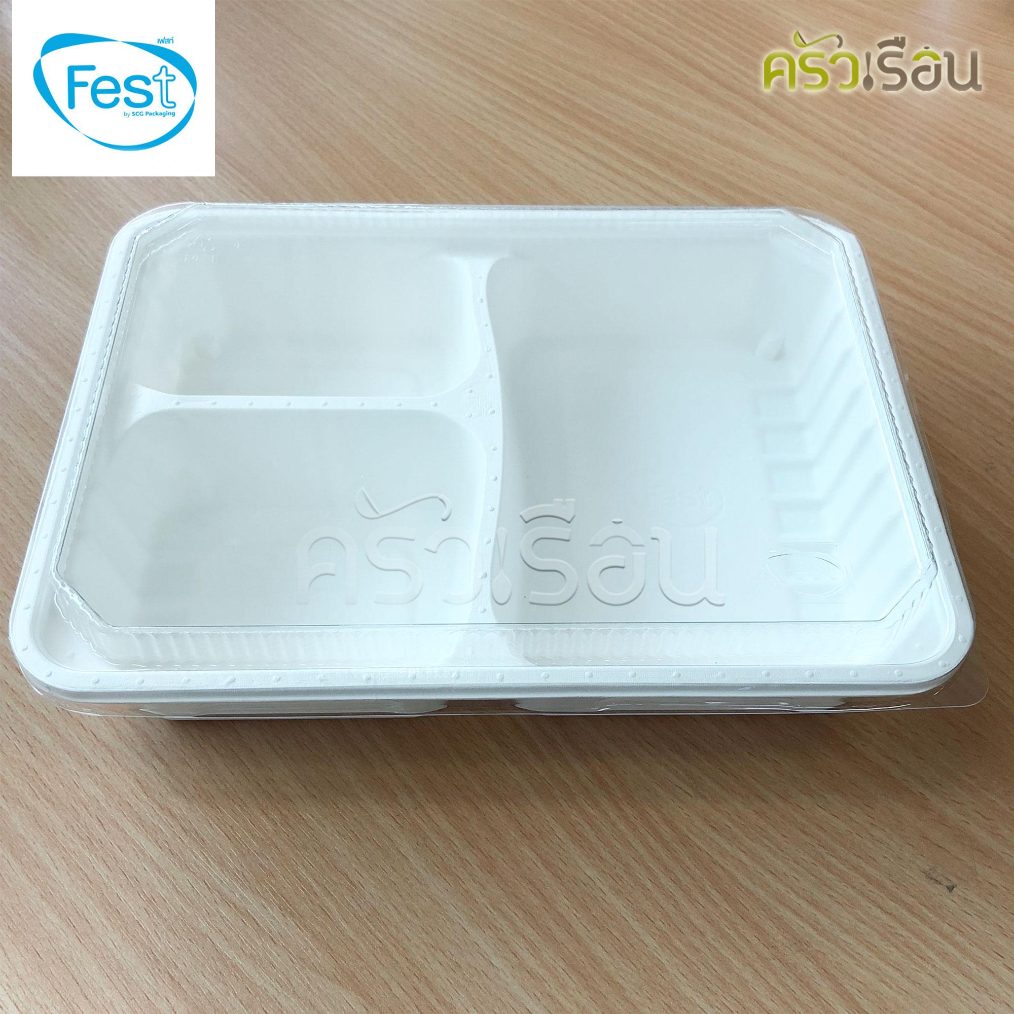 Fest เฟสท์ - กล่องไฮบริดเยื่อธรรมชาติเฟสท์ 3 ช่อง 1,000 มล. 25 ใบ - HM003