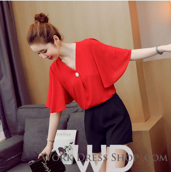 Preorder เสื้อทำงาน สีแดง คอวี ดีเทลอกเสื้อแบบทับไขว้เก๋ไก๋สุดๆ แขนทรงปีกค้างคาว เนื้อผ้าระบายอากาศได้ดี