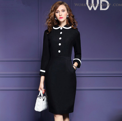 Preorder ชุดทำงาน สีดำ คอบัวแขนยาว แต่งกระดุมหน้าเก๋ไก๋ ทรงสวย เนื้อผ้า Wool