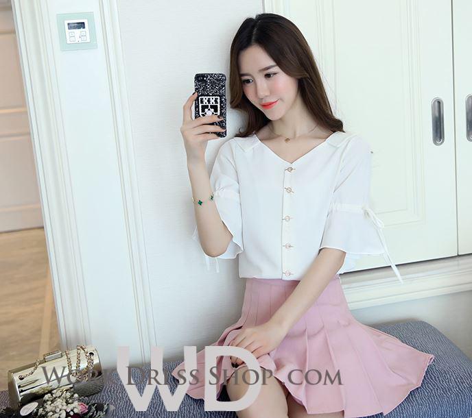 Preorder เสื้อทำงาน สีขาว คอปก แขนแต่งระบายสวย สไตล์เกาหลี เนื้อผ้าระบายอากาศได้ดี