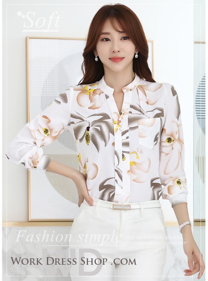 Pre-order เสื้อทำงาน คอจีน สีขาว ผ้าพิมพ์ลายดอกสวย เนื้อผ้าระบายอากาศได้ดี