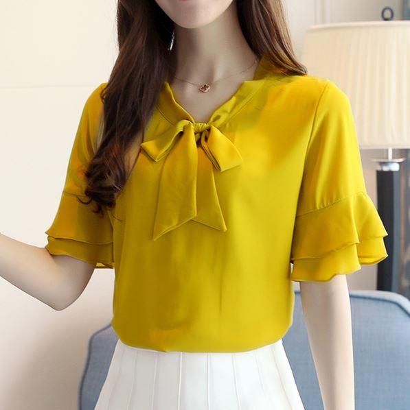 Preorder เสื้อทำงาน สีเหลืองขมิ้น คอผูกโบว์ แขนแต่งระบายสองชั้นสวยหรู