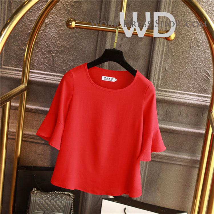 Pre-order เสื้อทำงาน สีแดง คอกลมแขนระบาย งานน่ารักเรียบร้อย มีไซส์ใหญ่ S - 6XL