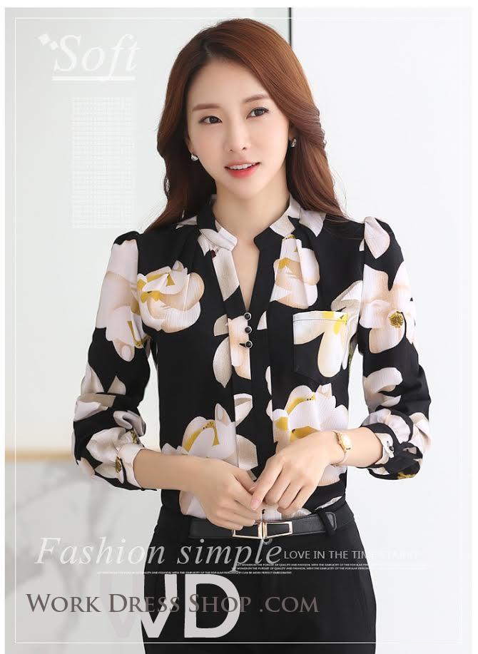 Preorder เสื้อทำงาน คอจีน สีดำ ผ้าพิมพ์ลายดอกน่ารัก เนื้อผ้าระบายอากาศได้ดี