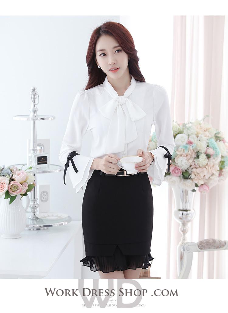 Preorder เสื้อทำงาน สีขาว รอบคอผูกโบว์ใหญ่เก๋ๆ แขนยาวระบายสองชั้น เนื้อผ้าระบายอากาศได้ดี
