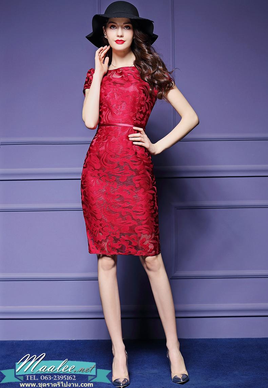 พร้อมส่ง ชุดเดรส/ชุดออกงาน ผ้าเกาหลี ผ้าโปร่งปักแขนสั้นลายดอกไม้ สีแดง (ซิปหลัง) ** พร้อมส่งไซส์ M , XL , 4XL **