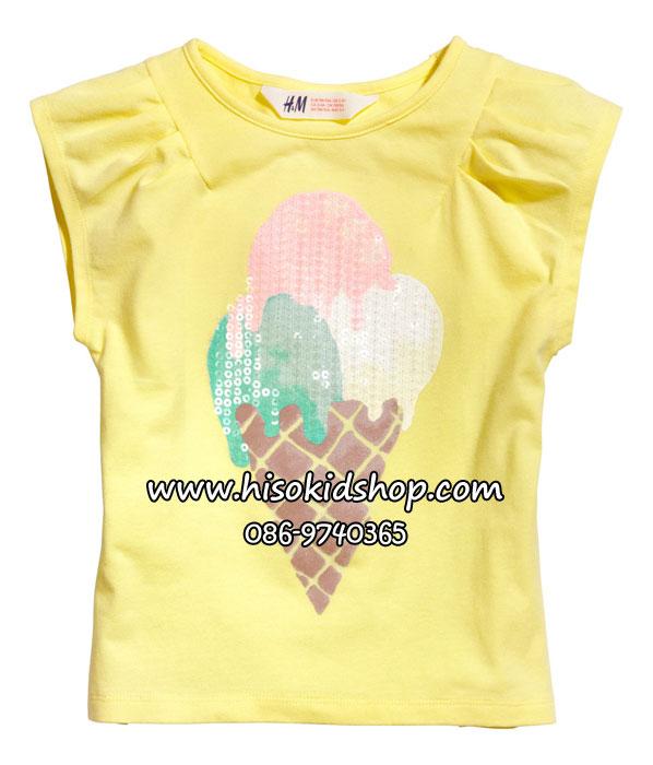 1045 H&M Top With Print - Yellow (ชน shop) ขนาด 6-8 ปี