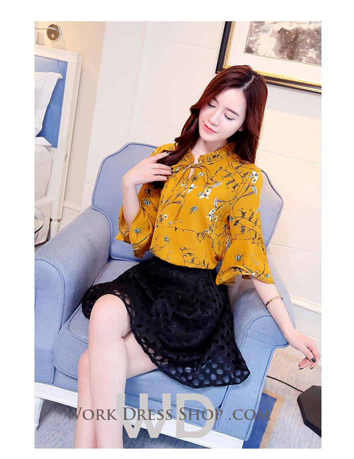 Preorder เสื้อทำงาน สีเหลือง ช่วงคอและแขนแต่งระบายสวย ผูกโบว์น่ารัก