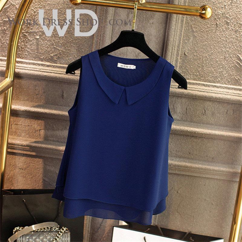Pre-order เสื้อทำงาน สีน้ำเงินกรมท่า คอกลมมีปก แขนกุด แต่งระบายชายเสื้อสองชั้น สวยหวานสุดๆ