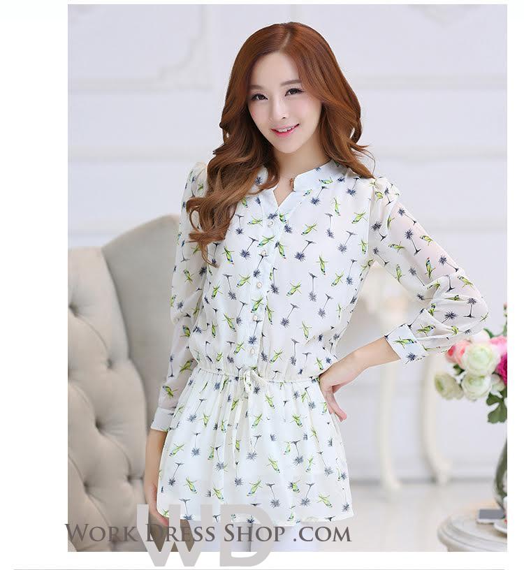 Preorder เสื้อทำงาน คอจีน สีขาว ผูกเอว ผ้าพิมพ์ลายนก