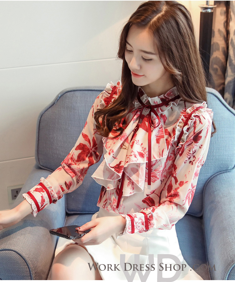 Pre-order เสื้อทำงาน สีขาวโทนแดง แต่งระบายไร่ระดับช่วงอกสวยหรูสุดๆ