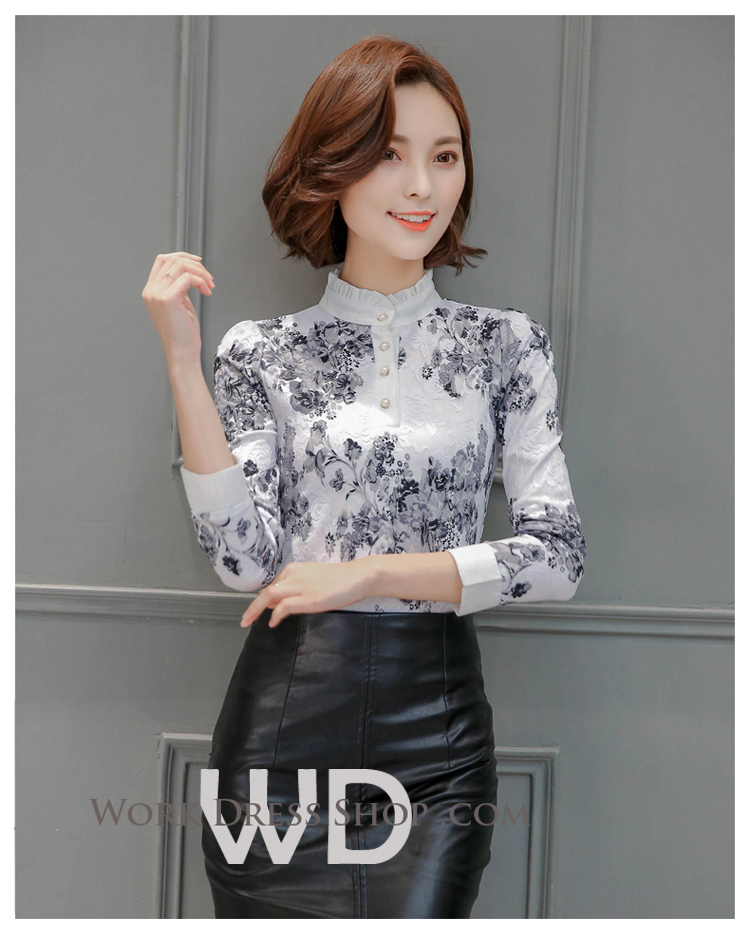 Preorder เสื้อทำงาน สีขาวดำ คอตั้ง แขนยาว เนื้อผ้าพิมพ์ลายลูกไม้สวยหรู ระบายอากาศได้ดี