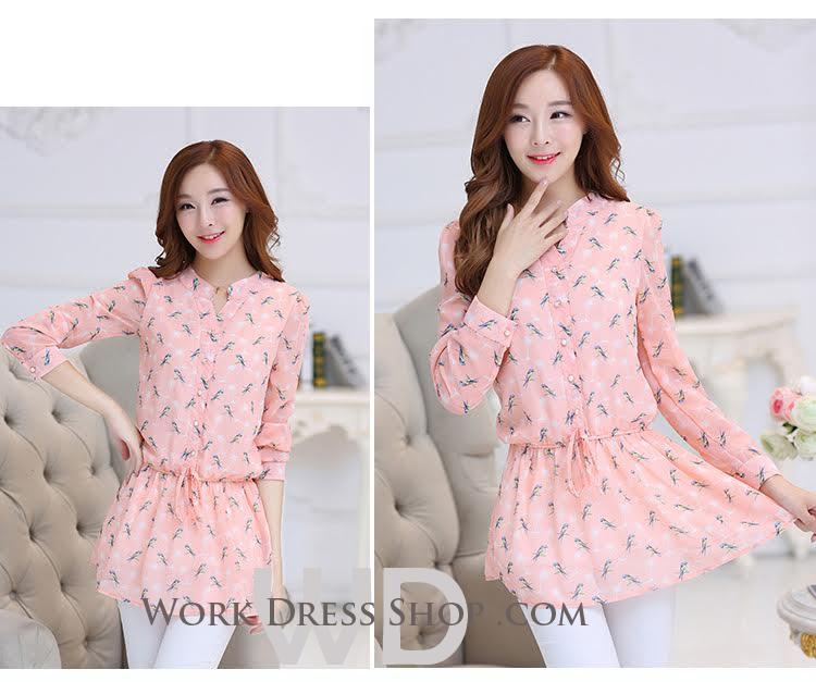 Preorder เสื้อทำงาน คอจีน สีชมพู ผูกเอว ผ้าพิมพ์ลายนก