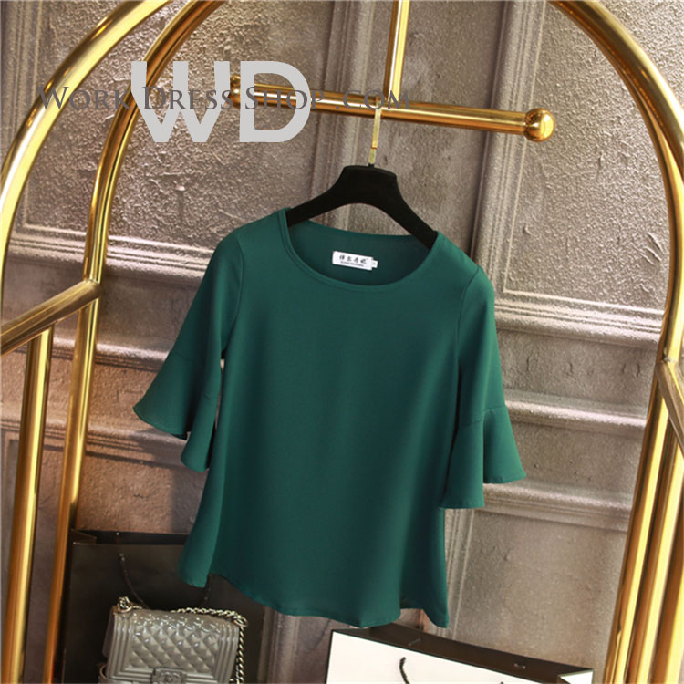 Pre-order เสื้อทำงาน สีเขียว คอกลมแขนระบาย งานน่ารักเรียบร้อย มีไซส์ใหญ่ S - 6XL