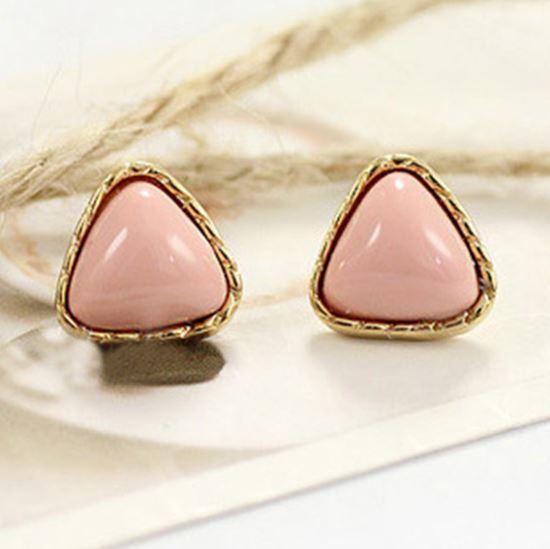 Preorder ตุ้มหูสามเหลี่ยม น่ารัก สี Pink