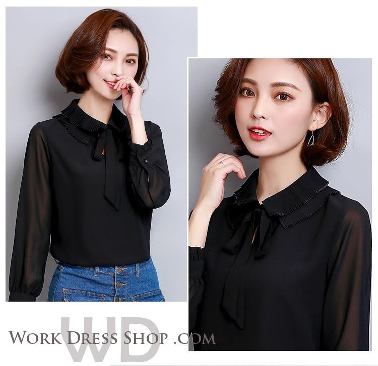 Preorder เสื้อทำงาน สีดำ คอแต่งระบายพร้อมโบว์ผูกน่ารัก