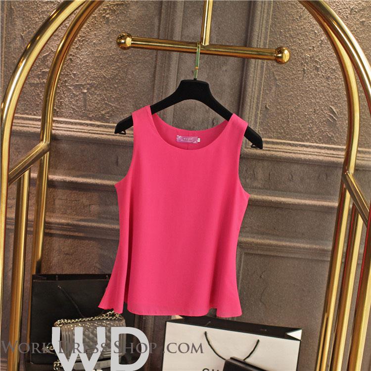 Pre-order เสื้อทำงาน สีชมพูHotpink เสื้อคอกลมแขนกุด เนื้อผ้าซีฟองอย่างดีพร้อมซับใน ใส่ด้านในสูทก็สวยเก๋