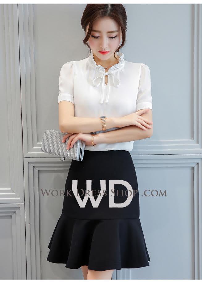 Preorder เสื้อทำงาน สีขาว ผูกโบว์หน้า เรียบหรู ช่วงคอระบายน่ารัก แขนสั้น เนื้อผ้าระบายความร้อนได้ดี