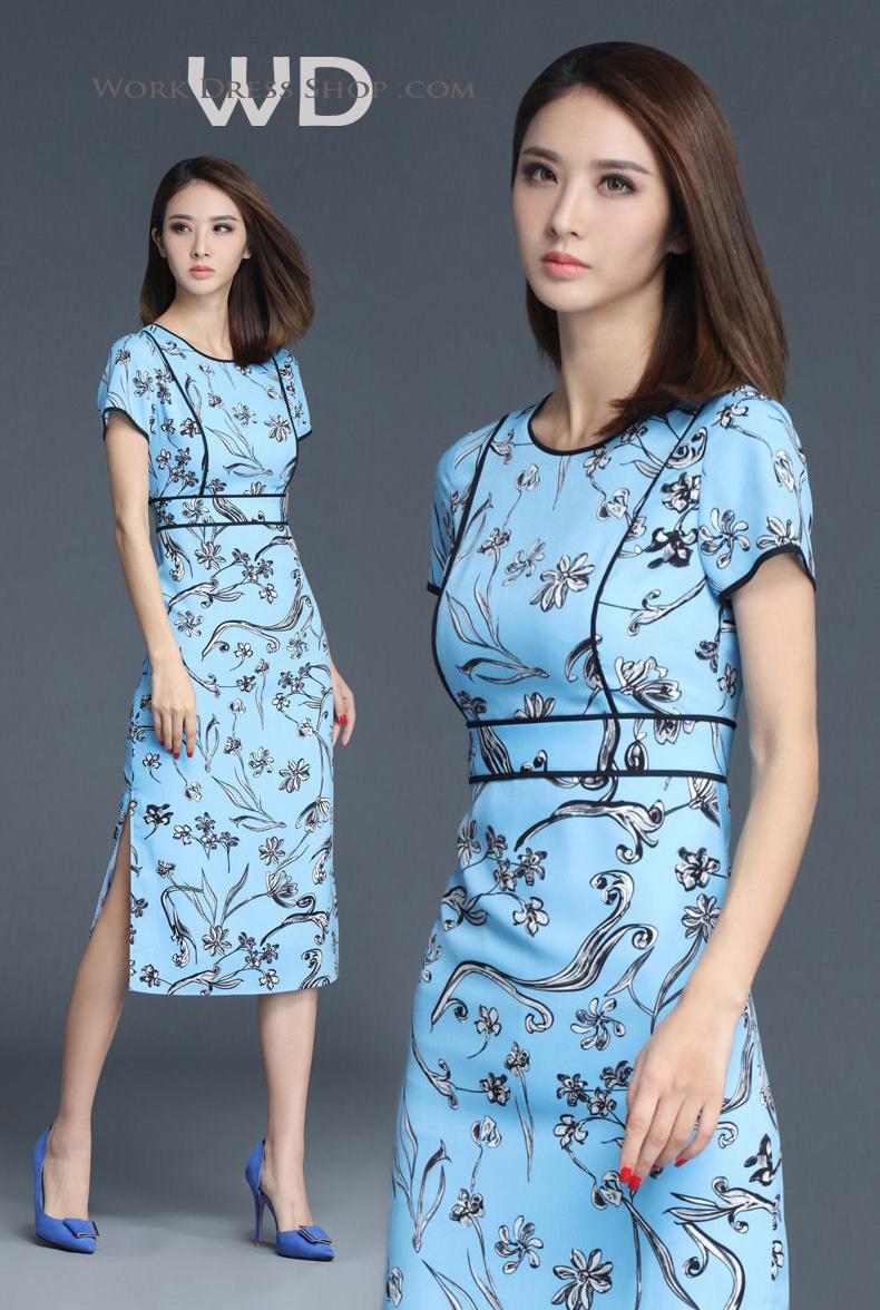 Pre-order ชุดทำงาน เดรสเรียบร้อย สีฟ้า Blue Floral dress คัตติ้งสวยเนี้ยบ มีไซส์ใหญ่ S - XXL