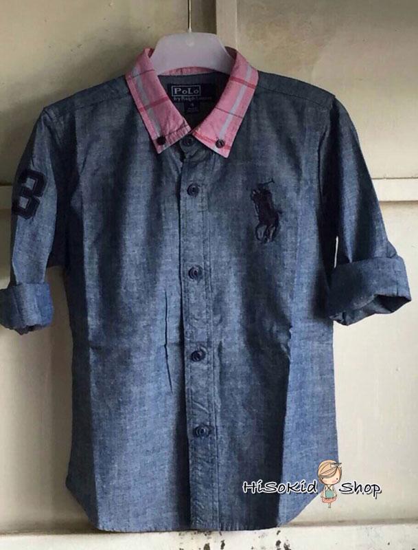 1006 Polo Ralph Shirt เสื้อเชิ้ตสียีนส์ ปักโลโก้ม้าสีกรมท่า ขนาด 6 ปี