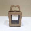 กล่องคุ๊กกี้หูหิ้วแบบหน้าต่าง 2 ด้าน 9x9x10ซม.กล่องขนม กล่องคัพเค้ก กล่องเค้ก กล่องเบเกอรี่ สีคราฟท์น้ำตาล