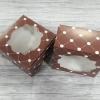 กล่องสแน็ค กล่องอาหารว่าง แบบมีหน้าต่าง สีช้อคโกแลต ขนาด 12.8x12.8x7.0 ซม.(20 ใบ ต่อแพ็ค)