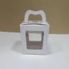 กล่องคุ๊กกี้หูหิ้วแบบหน้าต่าง 2 ด้าน 9x9x10ซม.กล่องขนม กล่องคัพเค้ก กล่องเค้ก กล่องเบเกอรี่ สีขาว