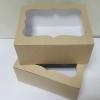 กล่องเค้ก กล่องคัพเค้ก 6 ชื้น กล่องขนม กล่องเค้กครึ่งปอนด์ กล่องเบเกอรี่ ลายคราฟท์หน้าขาวหลังน้ำตาล 16x22.6x9ซม.20ใบ/แพ็ค