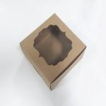 กล่องสแน็ค กล่องอาหารว่าง Snack Box กล่องคอฟฟี่เบรค กล่องคัพเค้ก แบบมีหน้าต่าง สีคราฟท์น้ำตาล ขนาด 15.0 x 15.0 x 7.6 ซม.