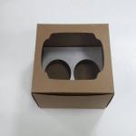 กล่องคัพเค้ก 2 ชิ้น สีคราฟท์น้ำตาล 15.2x13x10ซม.กล่องคัพเค้กพร้อมฐานรองคัพเค้ก (ช่องใส่คัพเค้กกว้าง 6.4ซม.) 20ใบ/แพ็ค