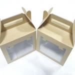 กล่องคุ๊กกี้ กล่องขนม มีหูหิ้ว ลายคราฟท์หน้าขาวหลังน้ำตาล กว้าง 15 x ยาว 10 x สูง 14 ซม.