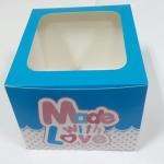 กล่องเค้ก กล่องเค้ก 1 ปอนด์ ทรงสูง กล่องเค้กฟองดอง กล่องขนม กล่องเบเกอรี่ กล่องคัพเค้ก ลายชมพูฟ้า 20.3x20.3x15ซม. 10ใบ/แพ็ค